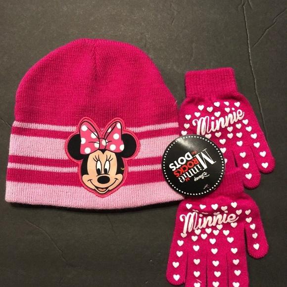 Disney Accessories Minnie Mouse Pink Polka Dot Kids Knit Winte